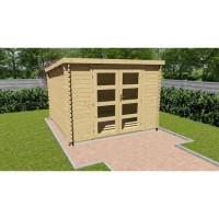 Abri de jardin bois brut FSC - toit plat - Surface 9,27m²
