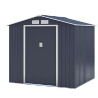 Abri de jardin en métal 4,07m² - 2 portes coulissantes - Gris anthracite