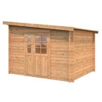 Abri de jardin Labeaume BNDIP - Forme rectangulaire - 300 x 250 cm - Porte double - Sapin du Nord - Bois massif - Traité chene d