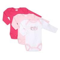 ABSORBA Lot de 3 Bodies bébé fille Placé Ma Collection de Doudou - Rose Dragée Blanc