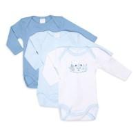 ABSORBA Lot de 3 Bodies bébé Garçon Placé Ma Collection de Doudou - Bleu Ciel Blanc
