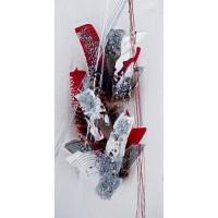 ABSTRAIT Tableau déco toile peinte a la main 30x60 cm blanc, gris et rouge