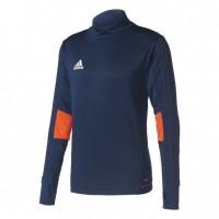 ADIDAS T-shirt d'entrainement manches longues Tiro 17 - Homme -Bleu foncé et Orange et Blanc