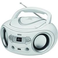 AEG SR 4374WH Boombox Radio Stéréo Aux-In + USB Port - Blanc