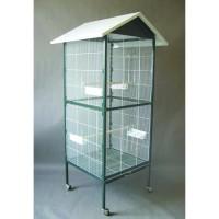 AIME Voliere - Blanc et vert - 60 x 60 x 167 cm - Accessoires inclus - Pour oiseaux