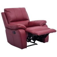 ALFRED Fauteuil de relaxation électrique en cuir et simili rouge - Contemporain - L 92 x P 94 cm