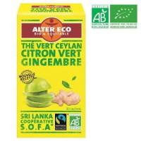 ALTER ECO Thé Vert Citron Vert Gingembre Bio 40g