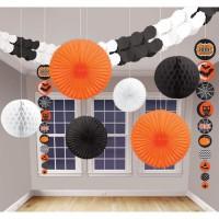 AMSCAN Kit Décoration de salle Halloween - 9 pieces - Noir et orange