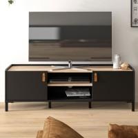 AMSTERDAM Meuble TV - Style industriel - Décor chene noir - L 136 x P 40 x H 44 cm