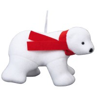 Animaux de Noël : Ours 4 pattes premier prix avec écharpe - H 17 x l 25 x 14 cm - Blanc et rouge