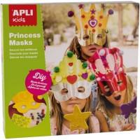 APLI Boîte 3 Masques de Princesse a décorer + Pieces de Mousse + Pompons Brillants