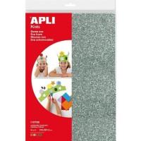 APLI Pochette 4 feuilles de mousse caoutchouc - Argent, or, rouge et vert a paillettes a paillettes