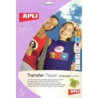 APLI Pochette de 5 Feuilles de Papier de transfert - Pour t-shirt de couleur