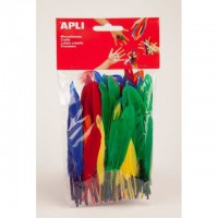 APLI Sachet de 100 plumes - Type oie - Couleurs assorties