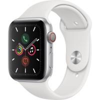 Apple Watch Series 5 Cellular 44 mm Boîtier en Aluminium Argent avec Bracelet Sport Blanc - M/L