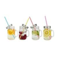 ARD'TIME Lot de 4 bocaux drinking jars en verre avec anse 450 ml
