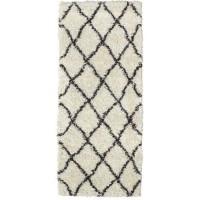 ASMA Tapis de couloir Shaggy - Style berbere - 67 x 180 cm - Creme et marron - Motif géométrique