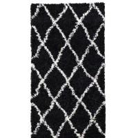ASMA Tapis de couloir Shaggy - Style berbere - 80 x 140 cm - Noir - Motif géométrique