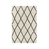ASMA Tapis de salon Shaggy - Style berbere - 120 x 160 cm - Creme et marron - Motif géométrique