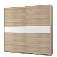 ATOS Armoire 2 portes coulissantes - Décor chene et Blanc mat - L 220,1 x P 61,2 x H 209,7 cm