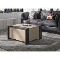AURORA Table basse bar- Style urbain - Décor chataigner naturel et noir - L 78 x P 78 x H 44 cm