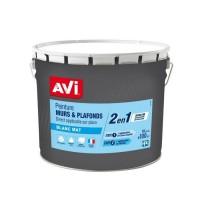 AVI Peinture murs et plafonds blanc mat 10L 2 en 1 avec sous couche intégrée