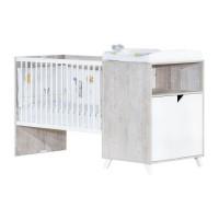 Babyprice - SCANDI GRIS - Lit Combiné Evolutif 120x60 en 90x190
