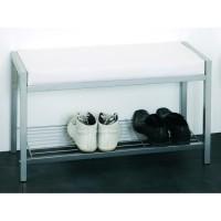 Banc de rangement / Etagere a chaussures Enja 80x48x32 cm aluminium et blanc