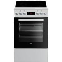 BEKO FUV55B - Cuisiniere pose libre - 4 foyers vitrocéramiques - Four convection - 65 L - L 50 x H 85 cm - Blanc