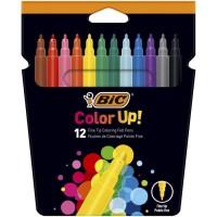 BIC Color Up Feutres de Coloriage a Pointe Fine - Couleurs Assorties, Etui Carton de 12