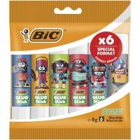 BIC ECOlutions Bâtons de Colle Blanche 8g, Décors Assortis, Pochette Format Spécial de 6