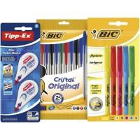 BIC et Tipp-Ex Kit Rentrée des Classes - 10 Stylos-Bille/5 Surligneurs /2 Rubans Correcteurs, Lot de 3