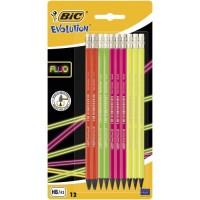 BIC Evolution Fluo Crayons a Papier avec Gomme Intégrée - HB, Blister de 12