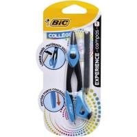 BIC Experience Compas avec Mini Crayon a Papier et Bague Réglable - Corps Métallique, Blister de 1