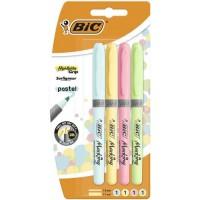 BIC Highlighter Grip Pastel Surligneurs a Pointe Biseautée - Couleurs Assorties, Blister de 4