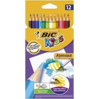 BIC Kids Aquacouleur Crayons de Couleur Aquarellables pour Effet Peinture - Coloris Assortis, Etui Carton de 12