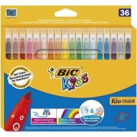 BIC Kids Kid Couleur Feutres de Coloriage a Pointe Moyenne - Couleurs Assorties, Etui Carton de 36