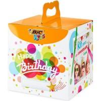 BIC Kids Kit Anniversaire - 12Crayons de Couleurs/12 Feutres de Coloriage/12 Pastels a l'Huile/6 Tubes de Colle Pailletée/30 St