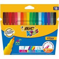 BIC Kids Visa Feutres de Coloriage a Pointe Fine - Couleurs Assorties, Etui Carton de 18