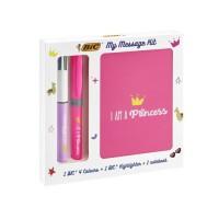 BIC Kit de Papeterie I Am a Princess - 1 Stylo-Bille BIC 4 Couleurs/1 Surligneur BIC Highlighter Grip Rose/1 Car