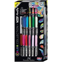 BIC Marking Colour Collection - Présentoir de 54 Marqueurs Permanents, 36 a Pointe Fine et 18 a Pointe Ultra-Fine