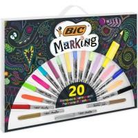 BIC Marking Marqueurs Permanents a Pointe Conique Moyenne (1,8 mm) - Assortiment de Couleurs dont 3Métalliques, Boîte de 20