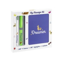BIC My Message Kit Dreamer - Kit de Papeterie avec 1 Stylo-Bille BIC 4 couleurs/1 Surligneur BIC Highlighter Grip Vert/1 Carnet