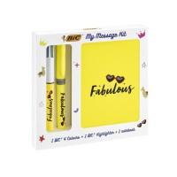 BIC My Message Kit Fabulous - Kit de Papeterie avec 1 Stylo-bille BIC 4 couleurs/1 Surligneur BIC Highlighter Grip Jaune/1 Carne