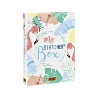 BIC My Stationery Box - 28Produits d'Ecriture, 10Feutres/6Stylos-Bille/4Surligneurs/1Ruban Correcteur/5Marqueurs Permanent
