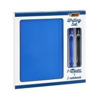 BIC Writing Set - 2 Stylos Gel a Pointe Moyenne (0,7mm) BIC Gel-ocity Quick Dry et 1 Carnet de Notes A5 Ligné, Coffret Cadeau d
