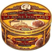Biscuiterie la Mere Poulard Boite Fer de Caramels Durs et Croustillants Praliné (Jaune) 250g