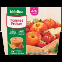 BLEDINA - Coupelles pommes fraises 4x100g