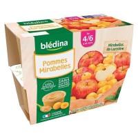 BLEDINA - Coupelles pommes mirabelles 4x100g