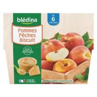 BLEDINA - Coupelles pommes peches biscuit 4x100g